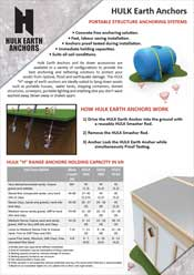 Hulk Earth Anchor Portable Structure Anchoring Brochure